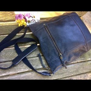THE SAK Black Pebbled Leather Crossbody A+ Cond.!